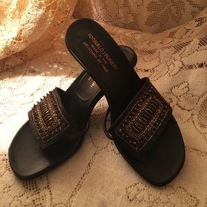 Donald J Pilsner sandals with beading. 6.5